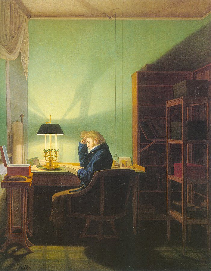 Georg Friedrich Kersting Man Reading by Lamplight